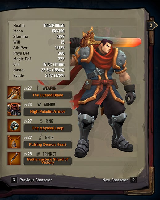 battle chasers garrison best equipment