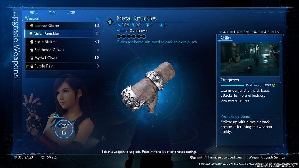 final fantasy 7 remake tifa weapons metal knuckles