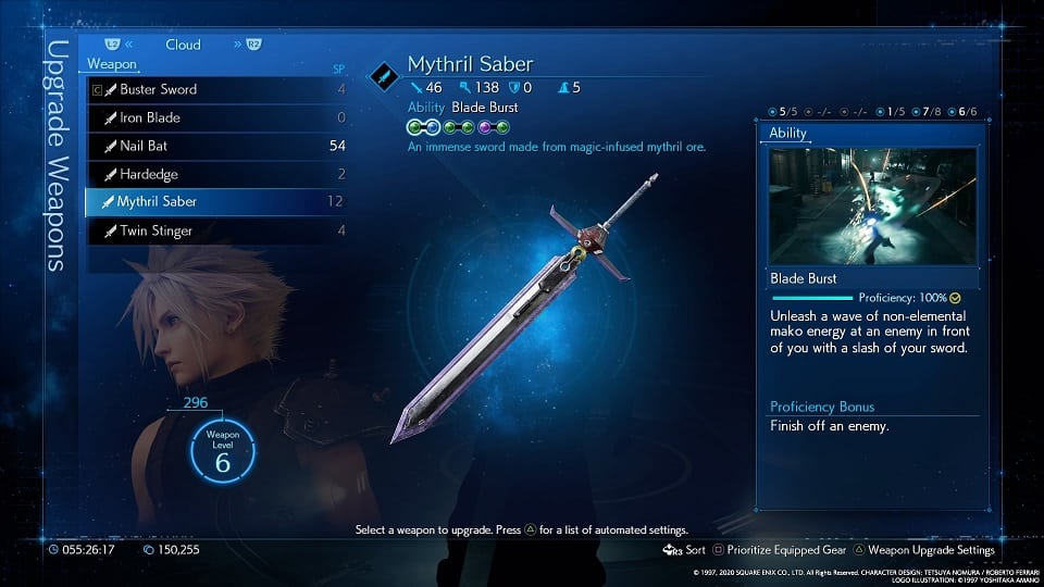 final fantasy 7 remake cloud weapons mythril saber