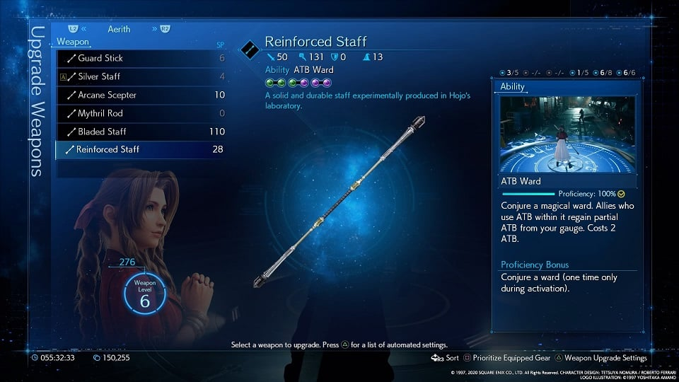 final fantasy 7 remake aerith weapons reinforced staff