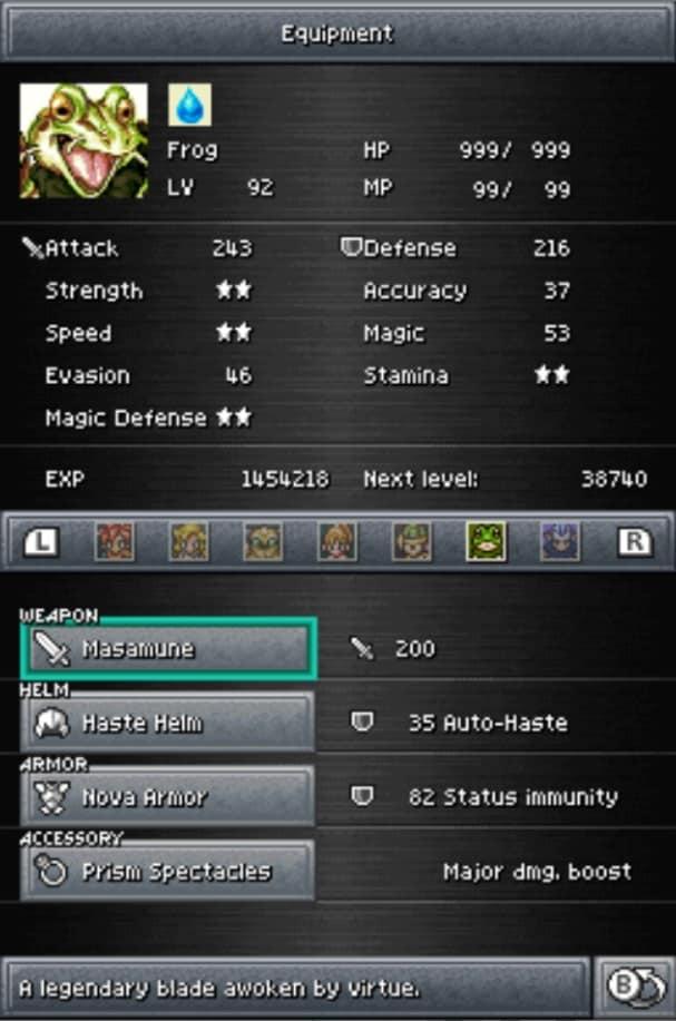 chrono trigger frog best equipment