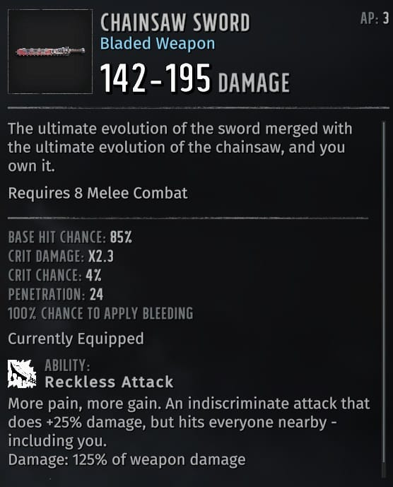 best wasteland 3 weapon types chainsaw sword