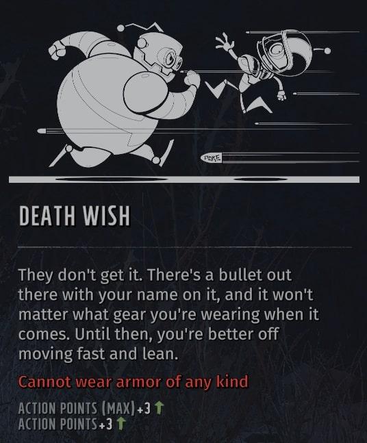 wasteland 3 quirks death wish