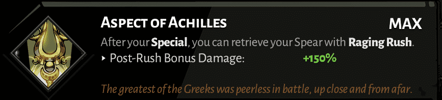 spear aspect of achilles best hades aspects