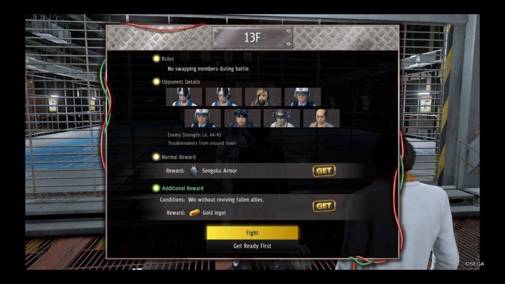 yakuza like a dragon battle arena guide floor 13