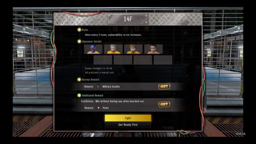 yakuza like a dragon battle arena guide floor 14