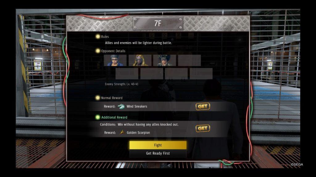 yakuza like a dragon battle arena guide floor 7