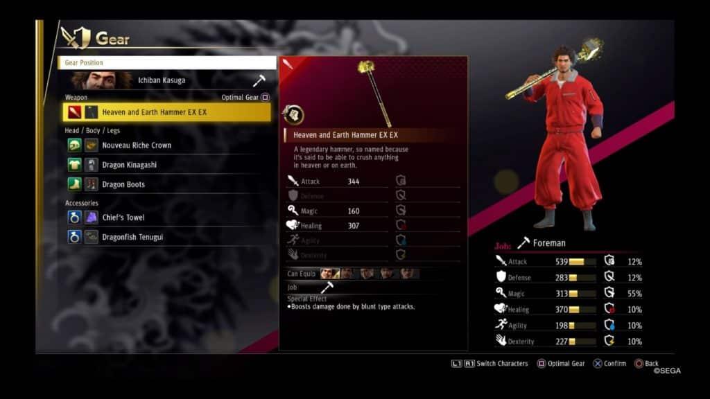 yakuza like a dragon best weapons foreman
