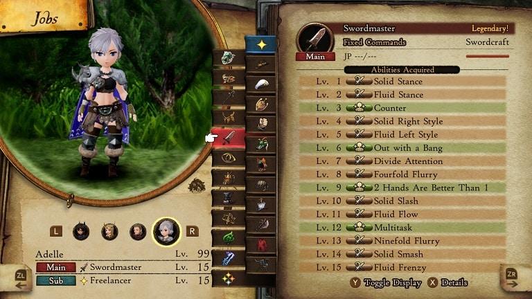 bravely default 2 jobs swordmaster