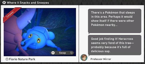 pokemon snap florio nature park requests where it snacks and snoozes