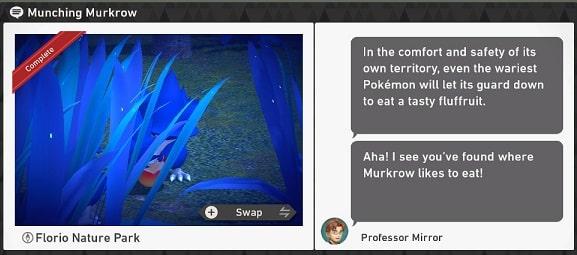pokemon snap florio nature park requests munching murkrow