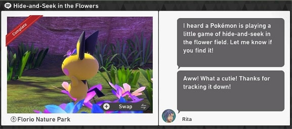 pokemon snap florio nature park requests hide-and-seek in the flowers