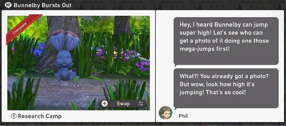 pokemon snap research camp requests bunnelby bursts out