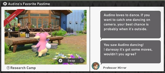 pokemon snap research camp requests audino's favorite pastime
