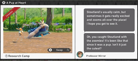pokemon snap research camp requests a pup at heart