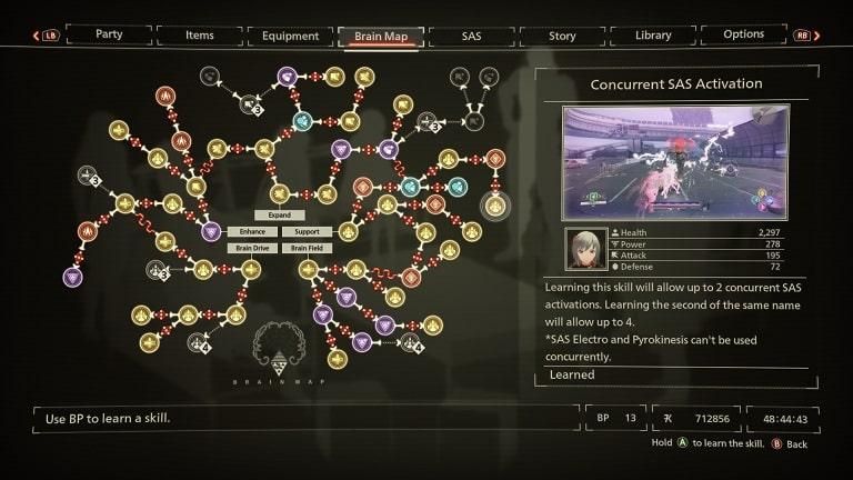 best scarlet nexus brain map skills concurrent sas activation