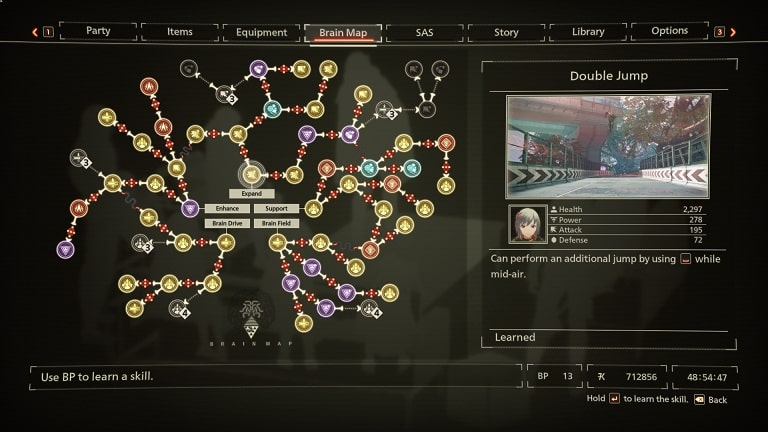 best scarlet nexus brain map skills double jump