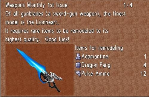 final fantasy 8 best weapons lionheart